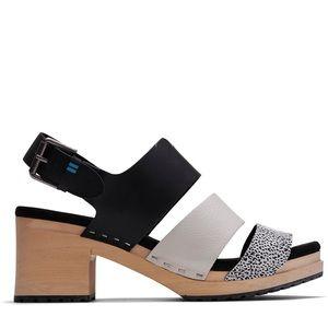 TOMS Black Mini Leopard Print Women's Clog Sandal